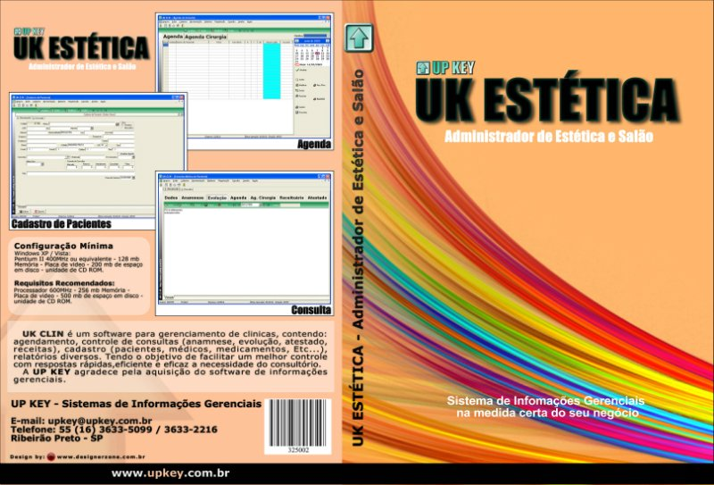 Encarte DVD do Software UK ESTÉTICA  - Designer Gráfico