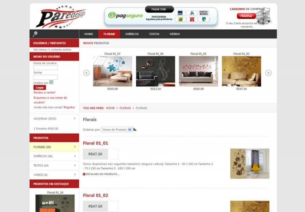 Paredesign - Site de comércio eletrônico