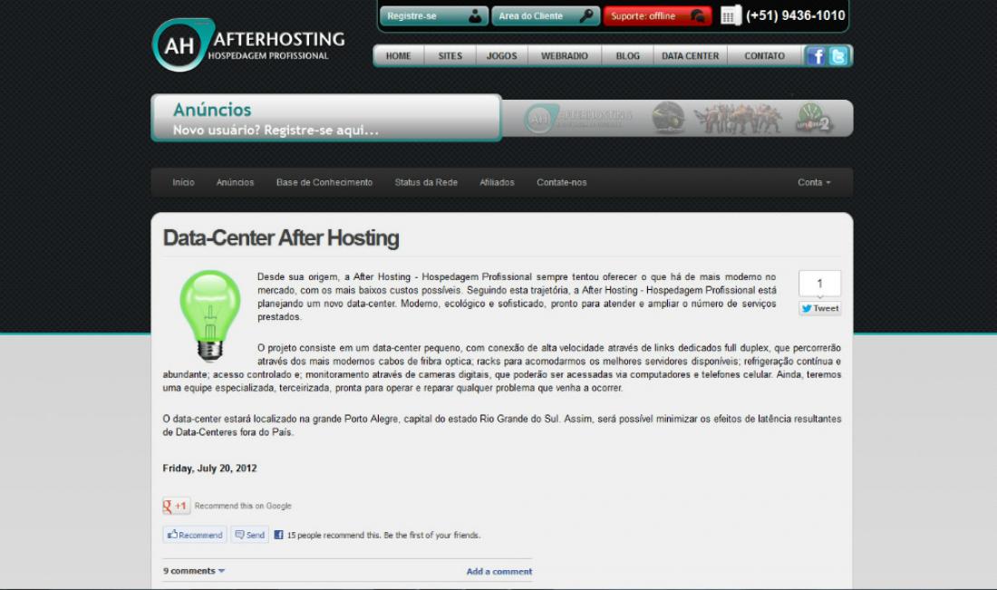 Afterhosting - Site no sistema WHMCS