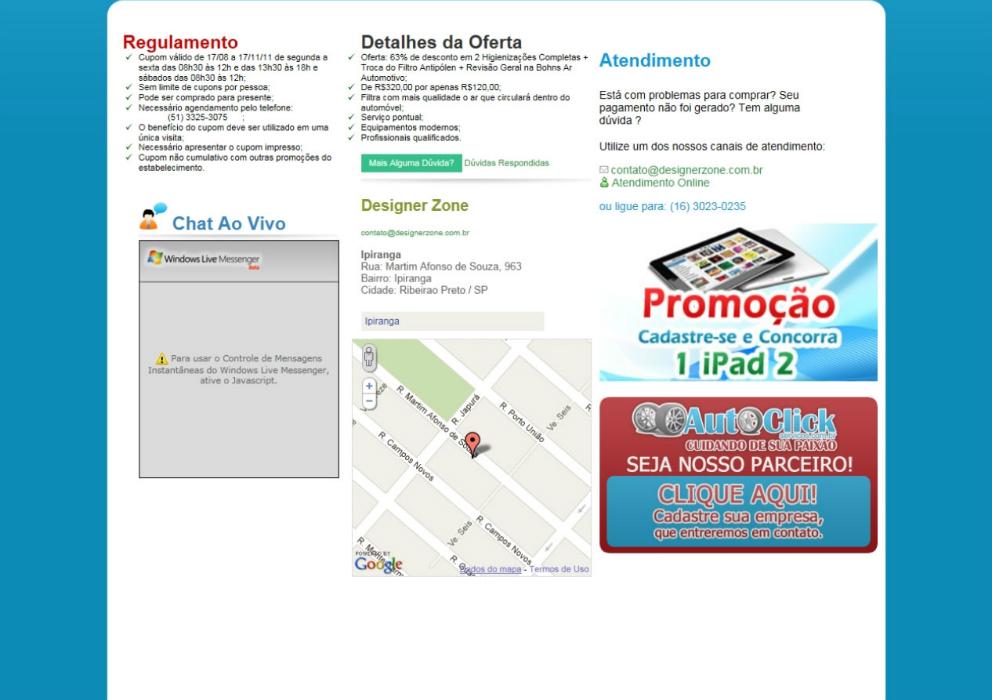 Auto click serviços - Site de compras coletivas