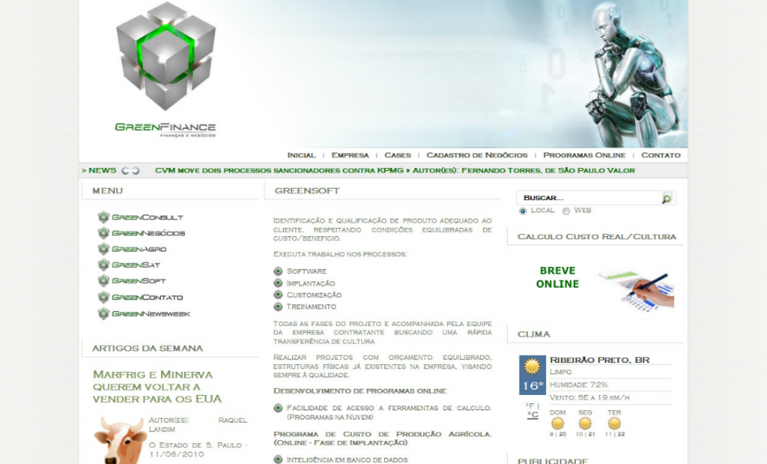 Green Finance - Site gerenciável