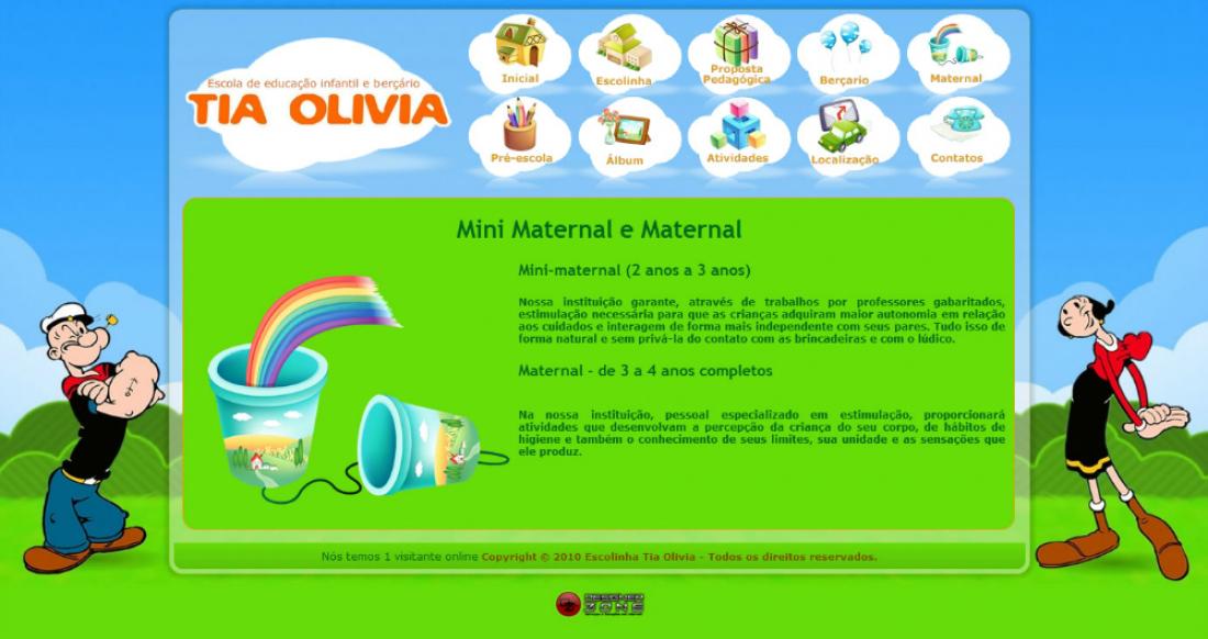 Escolinha Tia Olivia - Site gerenciável